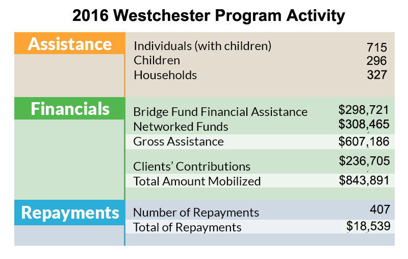 The Bridge Fund of Westchester Program Activity 2016