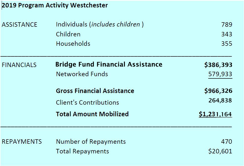The Bridge Fund of Westchester Program Activity 2019