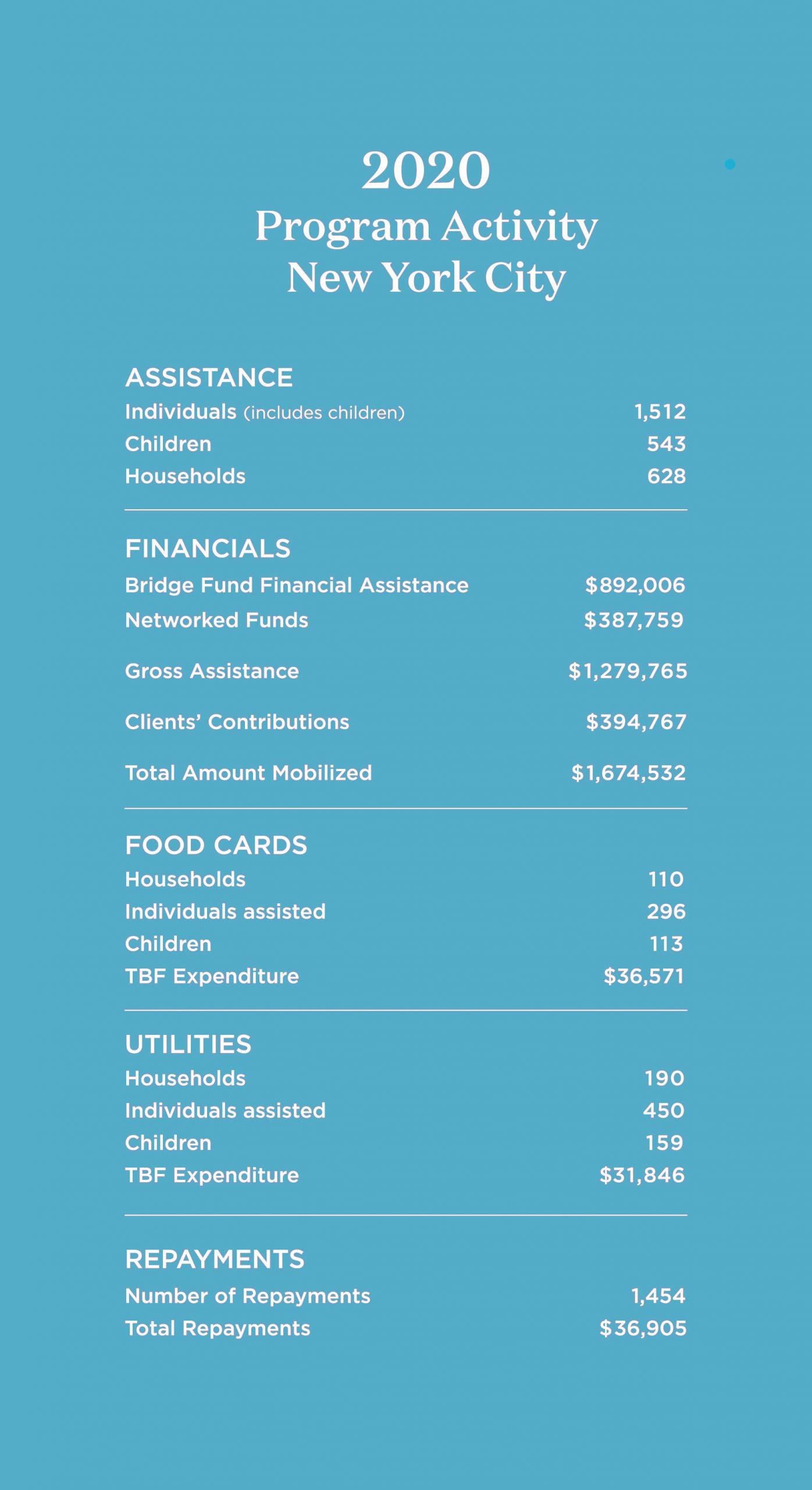 2020 New York City Program Activity Chart